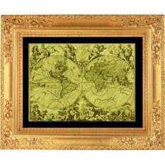 Гравюра из золота Древняя карта мира