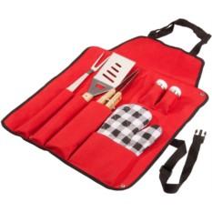 Красный фартук с набором для барбекю