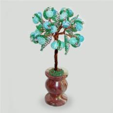Миниатюрное дерево из зеленного агата в вазочке из оникса