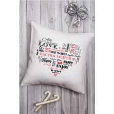 Декоративная подушка с вашим именем Сердце влюбленных