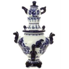 Сувенирный самовар Гжель с заварочным чайником