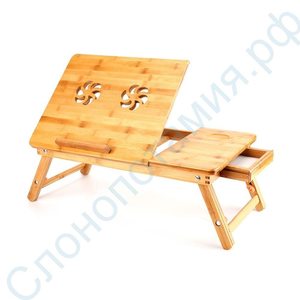Бамбуковый столик для ноутбука и завтрака с вентилятором SITITEK Bamboo 2