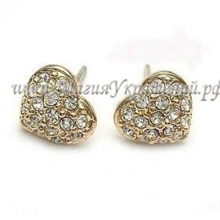 Серьги-гвоздики Сердце с кристаллами Swarovski