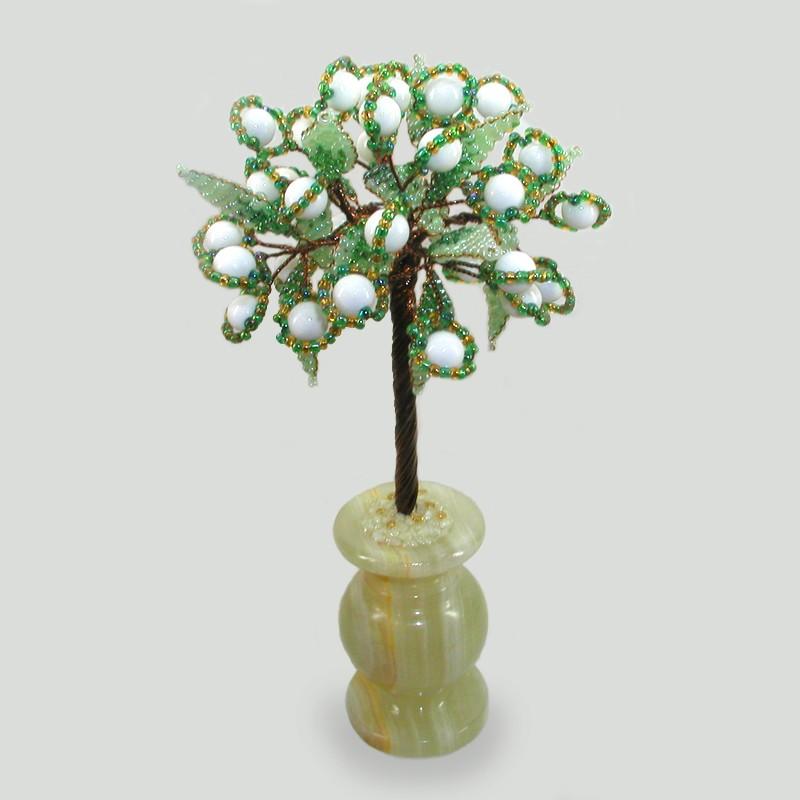 Дерево счастья из селенита в вазочке из оникса