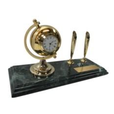 Мраморный настольный набор из 2 ручек, часов