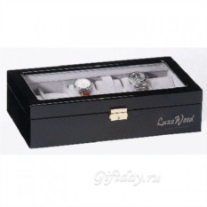 Черная шкатулка для хранения 12 часов Luxewood