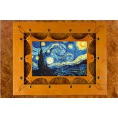 Картина из кожи Звездная Ночь Ван Гог