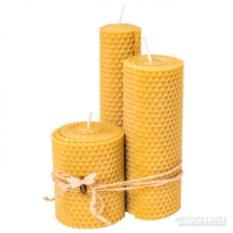 Набор из 3 свечей из вощины