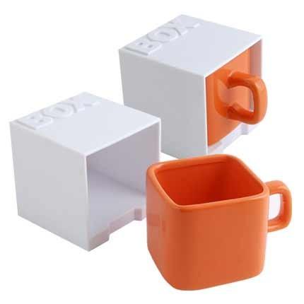 Керамическая кружка Куб, оранжевая