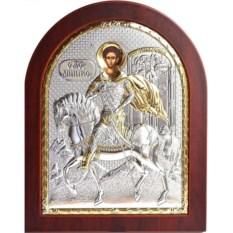 Икона в серебряном окладе Димитрий Солунский на коне