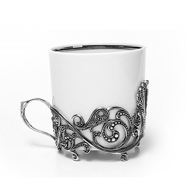 Серебряная кофейная чашка Витая, чернение