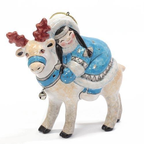 Елочная игрушка Девочка на олене