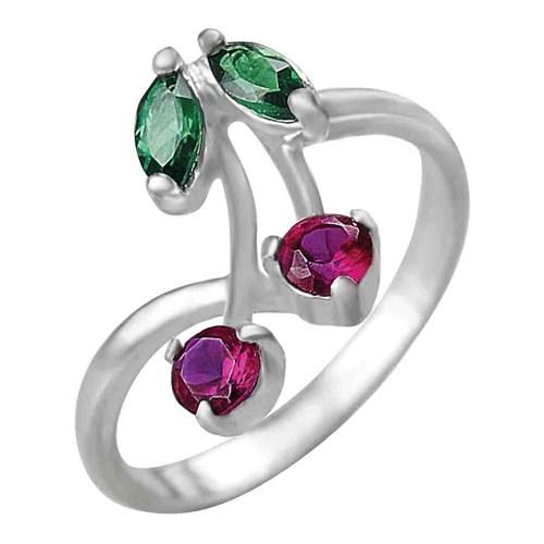 Серебряное кольцо со шпинелью и корундом