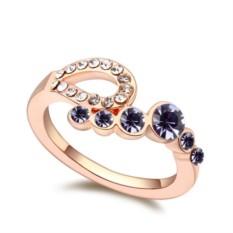 Кольцо «Романтика» с фиолетовыми кристаллами