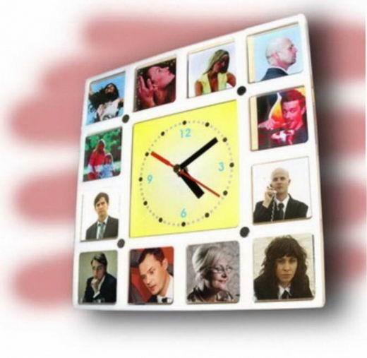 Часы-фоторамка Сменные картинки (белая)
