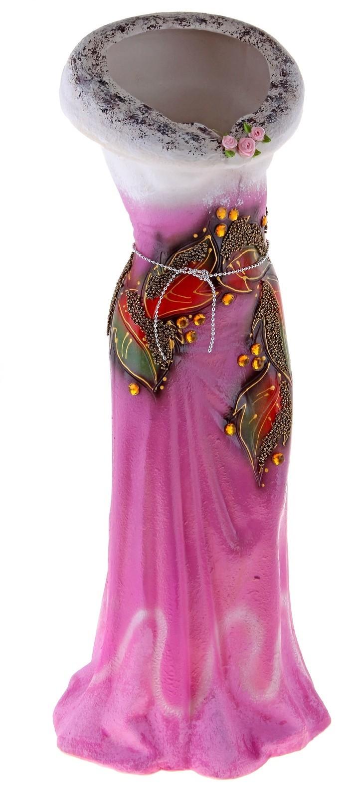 Напольная ваза в форме платья, розовая