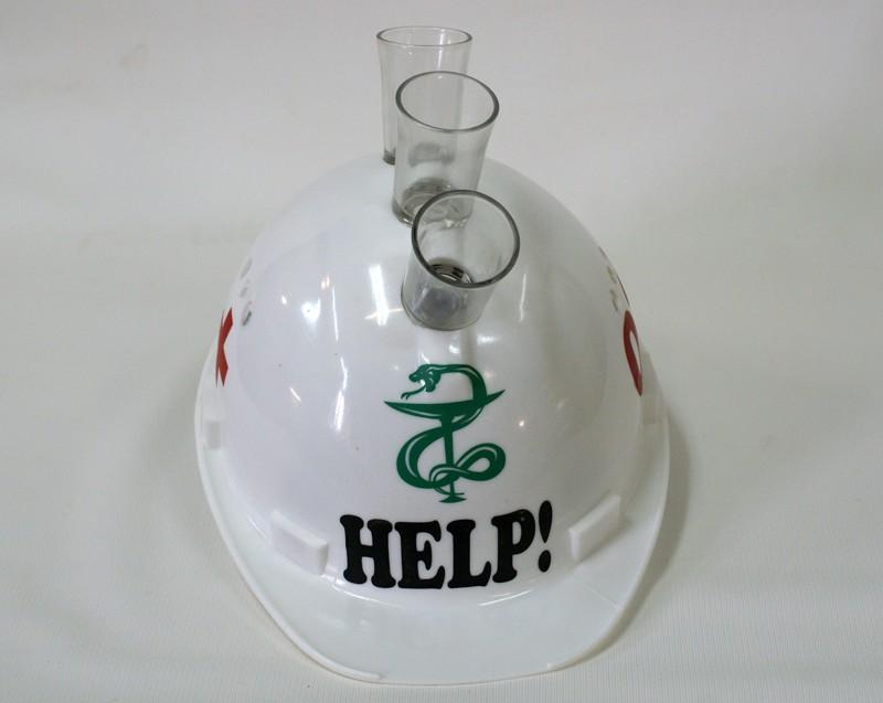 Каска с рюмками Help белая.
