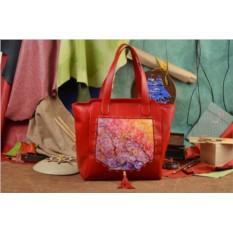 Красная сумка-шопер Цвета осеннего неба Elole Design