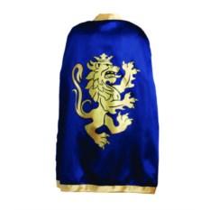 Детский синий рыцарский плащ с золотым львом