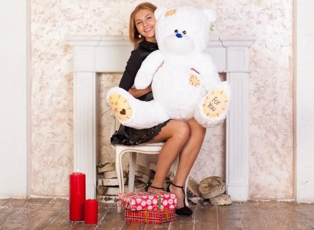 Плюшевый мишка Тедди (белый), 130 см