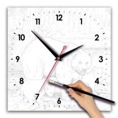 Квадратные часы-раскраска Медведь