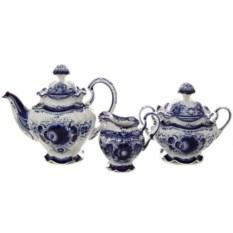 Чайный набор на 6 персон с росписью гжель Нежное утро