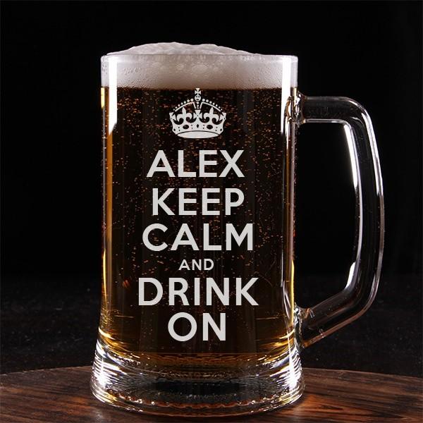 Пивная кружка Keep calm с Вашим именем и текстом