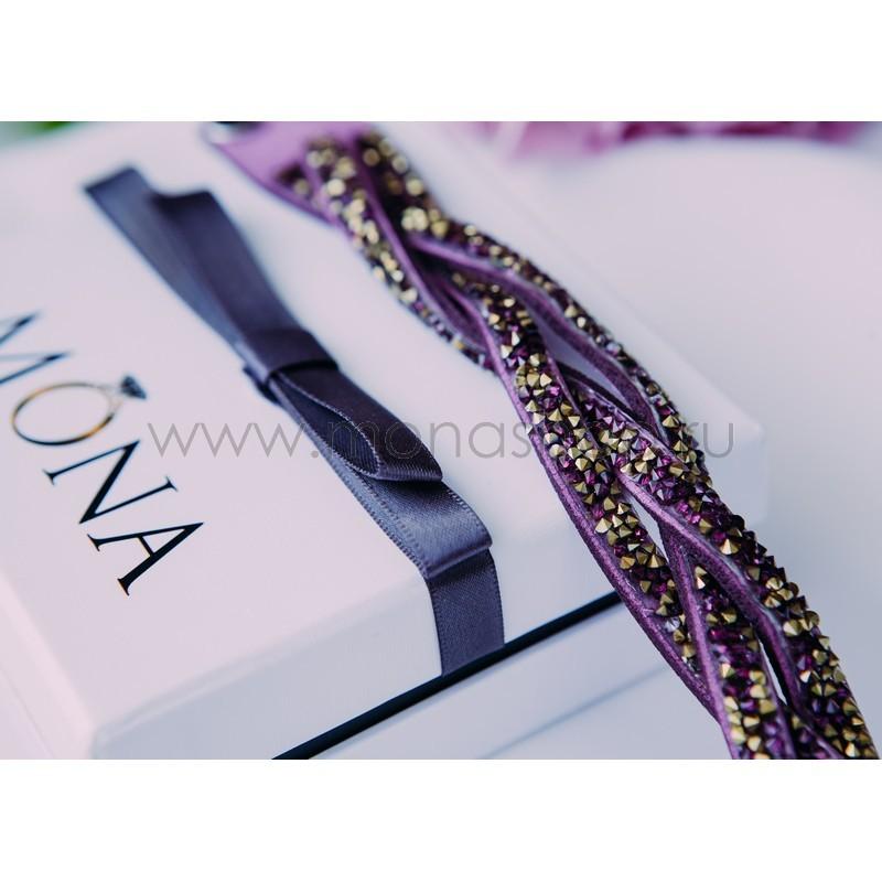 Замшевый фиолетовый браслет «Коса»
