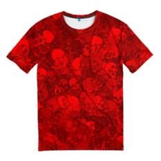 Мужская футболка 3D Красные черепа