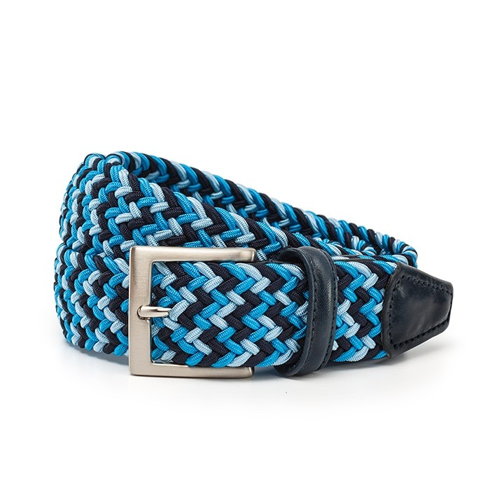 Ремень Anderson`s, плетёный, голубой-синий