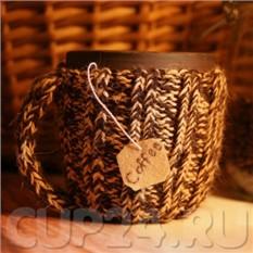 Вязаная кружка (коричневая комбинированная)