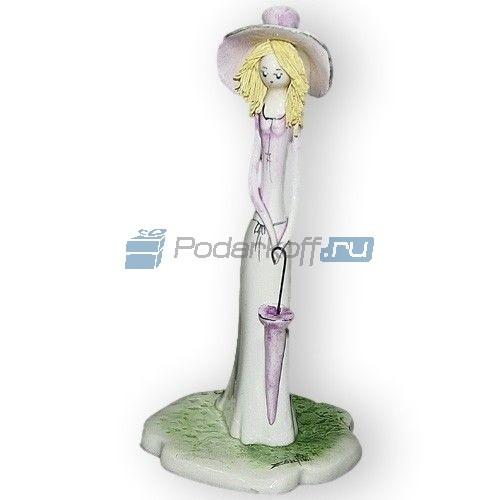 Фарфоровая статуэтка Дама в розовом с зонтиком (Zampiva)