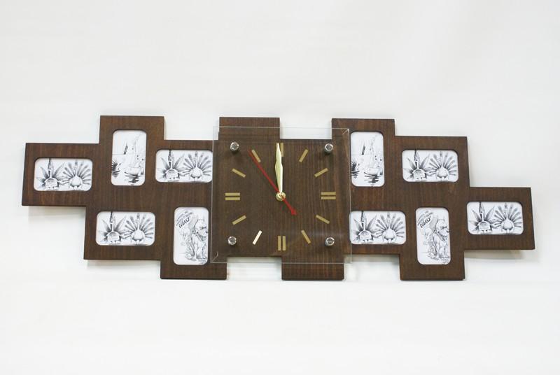 Оригинальные настенные часы фоторамка Большая семья