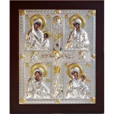 Серебряная четырехчастная икона Божьей Матери Материнство