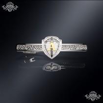 Серебряный зажим для галстука Альфа