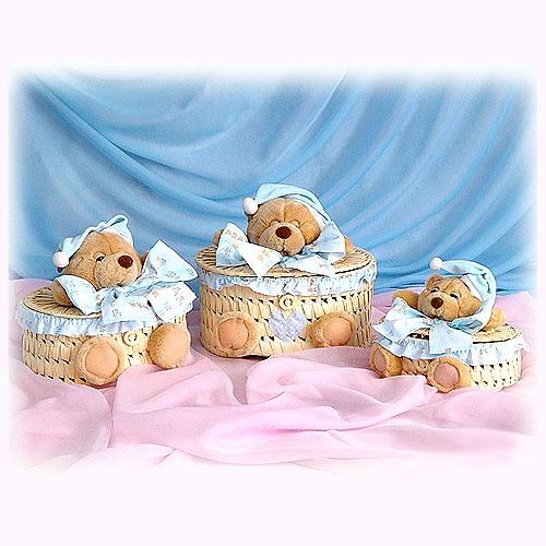 Набор плетеных шкатулок «Мишки»