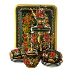 Самовар с росписью Хохлома классическая и чайным сервизом