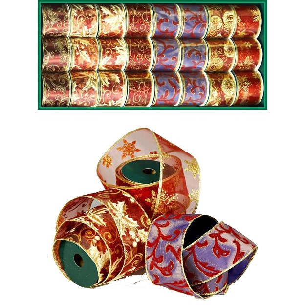 Лента для декорирования  БУРГУНДИЯ с золотым узором,  5 м х 6,5 см