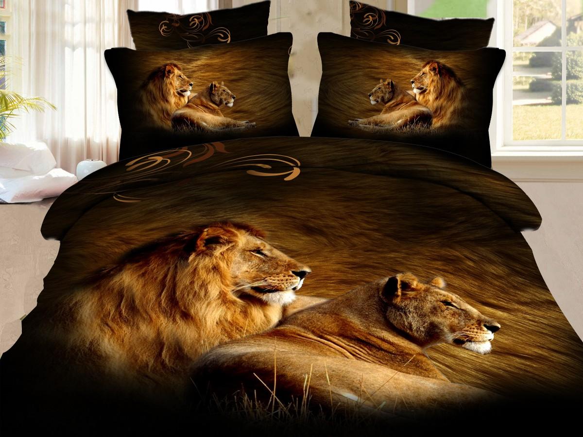 Евро комплект постельного белья 3D, львы