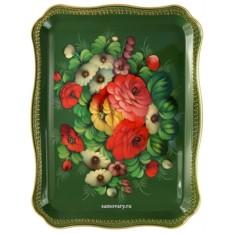 Поднос с художественной росписью Букет на зеленом фоне