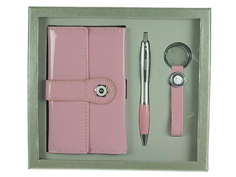 Розовый подарочный набор: бумажник, ручка, брелок