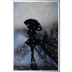 Картина с кристаллами Swarovski Девушка под дождем