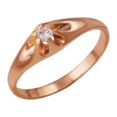 Позолоченное кольцо с декором в виде цветка с фианитом