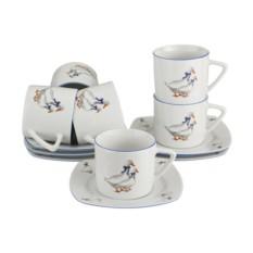 Чайный набор на 6 персон Тетра гуси от Bohemia Porcelan
