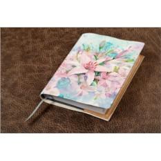 Белый кожаный ежедневник Розовые цветы