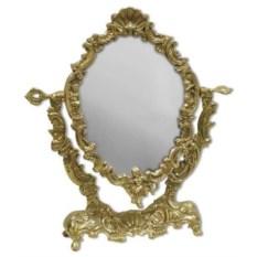 Настольное золотистое зеркало Ракушка