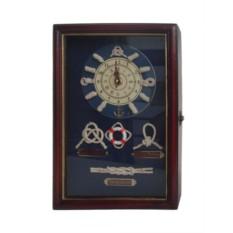 Ключница Морские узлы с часами на темном фоне