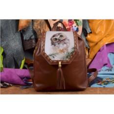Коричневый кожаный рюкзак с принтом Совёнок