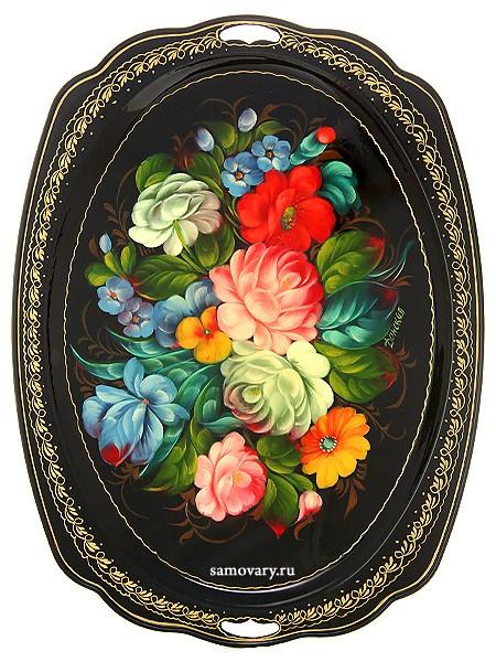Овальный поднос Жостово с росписью Цветы на черном фоне