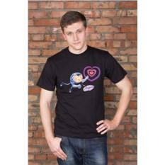 Черная мужская именная футболка Космос